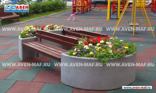 Вазон-комплекс для цветов со скамейкой ВК-16/1 фото