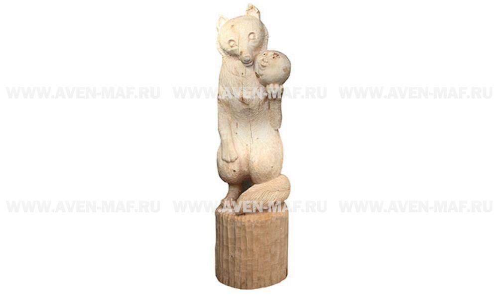 """Деревянная фигура """"Лиса с колобком"""" 2"""