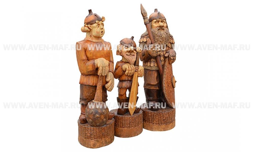 """Деревянная фигура """"3 богатыря"""""""