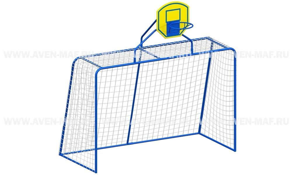 Ворота футбольные (большие) с баскетбольным кольцом И-1
