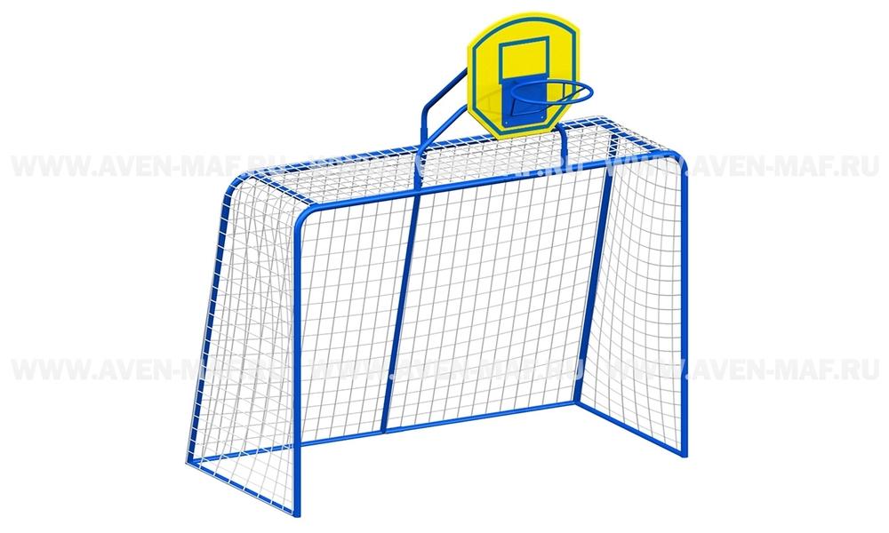 Ворота футбольные (средние) с баскетбольным кольцом И-1