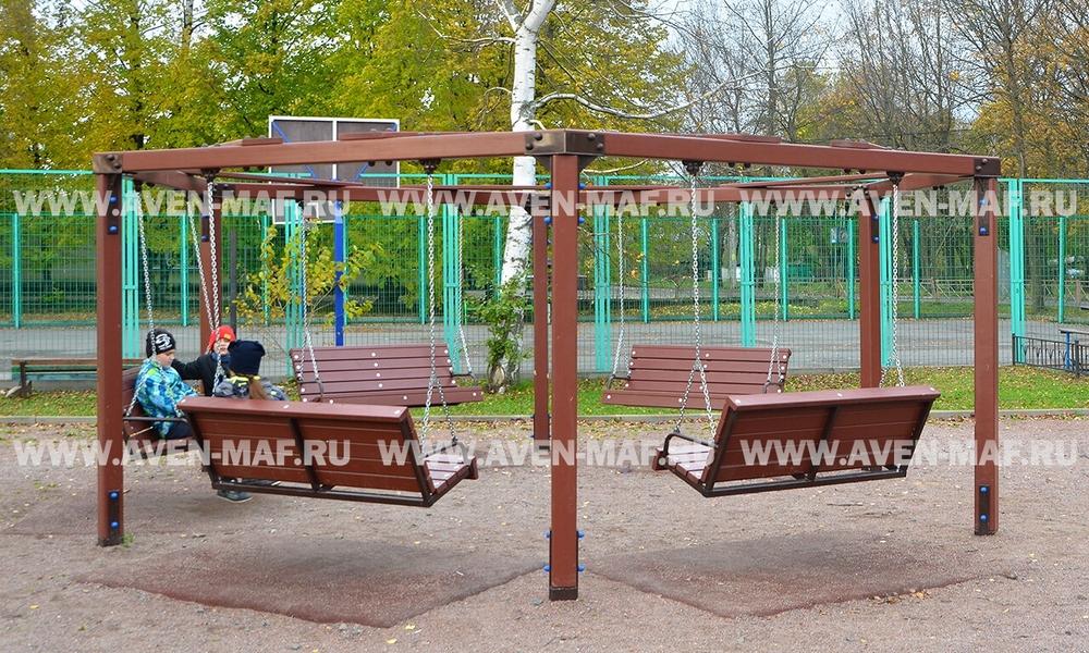 Качели маятниковые круговые на деревянных столбах К-35 д