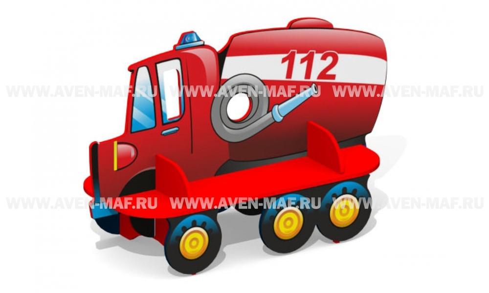 """Детская скамейка С-168 """"Пожарная машина"""" двухсторонняя"""