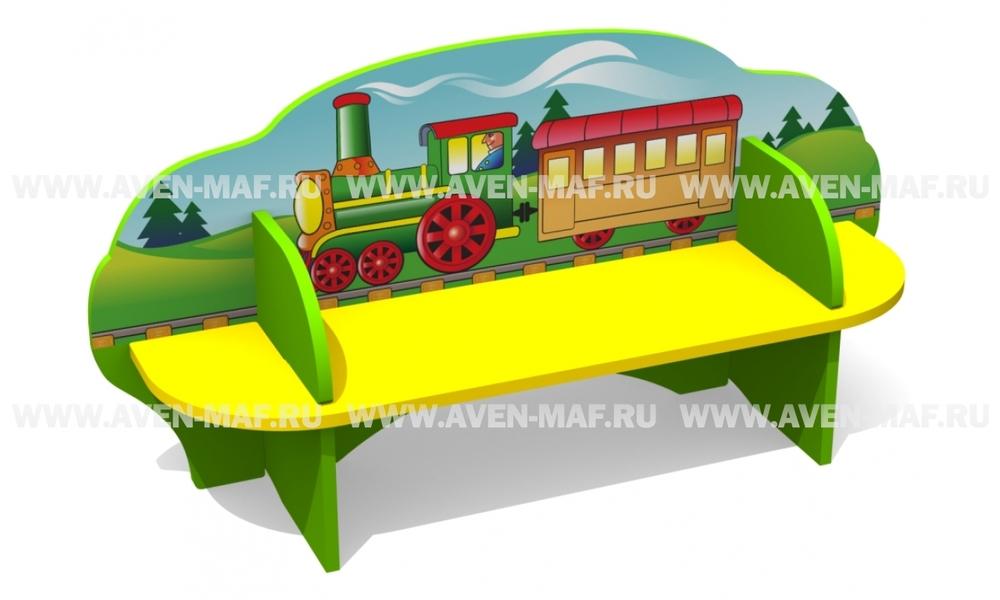 """Детская скамейка С-171 """"Поезд"""" двухсторонняя"""