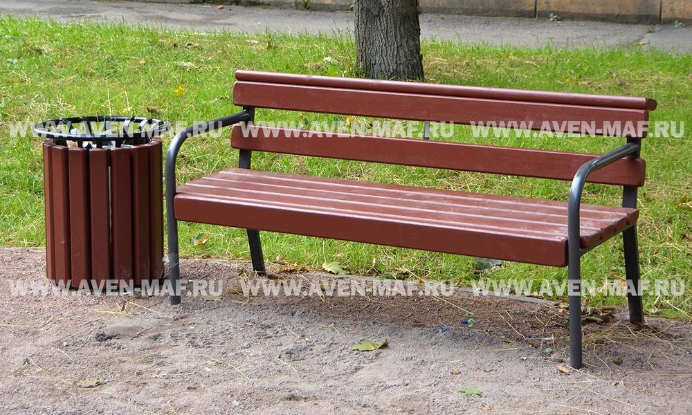 Скамейка с металлическими ножками С-1