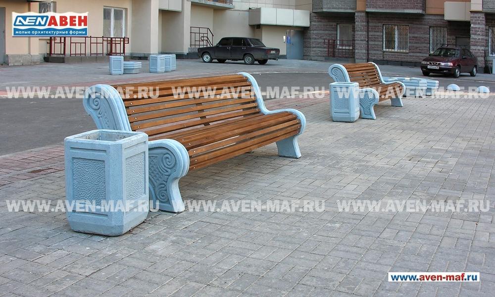 Парковая скамейка с бетонным основанием С-43