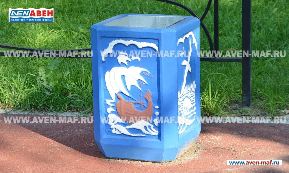 Бетонная урна для мусора У-55 художественная