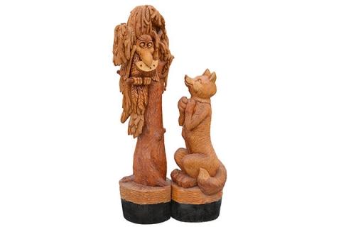 """Деревянная фигура """"Лиса и ворона"""""""