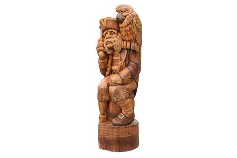 """Деревянная фигура """"Пират с попугаем"""""""