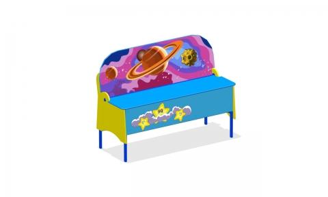 """Детская скамейка с ящиком для игрушек ПС-01 """"Космос"""""""