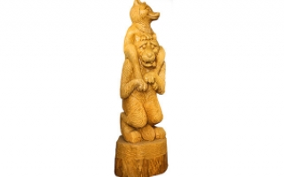 """Деревянная фигура """"Волк с лисой"""""""