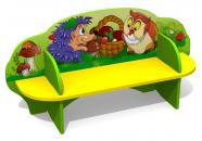 """Детская скамейка С-171 """"Лесные звери"""" двухсторонняя"""